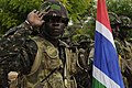 A Gambian soldier salutes during Senegal's national anthem during the opening ceremonies for Western Accord 2012 in Thies, Senegal, June 9, 2012 120609-Z-KE462-133.jpg