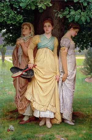 1880s - A Summer Shower, by Charles Edward Perugini, 1888