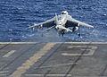 A U.S. Marine Corps AV-8B Harrier aircraft assigned to Marine Medium Tiltrotor Squadron (VMM) 266, 26th Marine Expeditionary Unit (MEU) takes off from the flight deck of the amphibious assault ship USS Kearsarge 131101-M-SO289-006.jpg