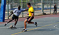 A U.S. Soldier, left, with the 5th Battalion, 7th Air Defense Artillery Regiment and an Israeli soldier compete in a soccer game during Austere Challenge 2012 in Hazor, Israel 121101-F-QW942-256.jpg