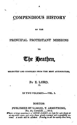 "Eleazar Lord - Title page of ""A compendious history of the principal Protestant missions to the heathen,"" 1813."