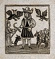 A figure holds a scythe as winged creatures fly above him Wellcome V0025806EB.jpg