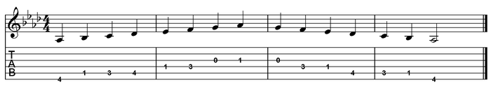 A flat major scale one octave (open position).png