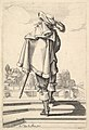 A gentleman, seen from behind, walking up a parapet, with a cloak over his left shoulder, wearing a plumed hat and boots with spurs MET DP829200.jpg