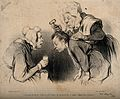 A maid puts a key down a man's shirt to stop his nosebleed. Wellcome V0011743.jpg