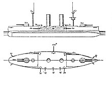 A black and white design drawing of a ship, with a top-down view and one from the side.