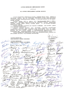 Act of the Re-Establishment of the State of Lithuania act declaring the independence of Lithuania from the USSR