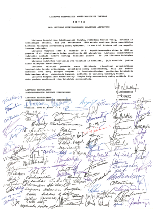 Act of the Re-Establishment of the State of Lithuania - Act of the Re-Establishment of the State of Lithuania with signatures of the delegates