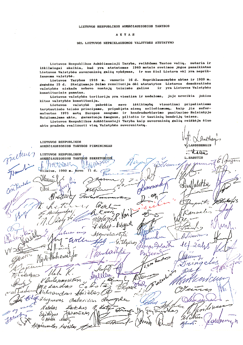 Act of Restoration of Independence of Lithuania 1990-03-11