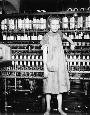 "National Child Labor Committee -  ""Addie Card, 12 years. Spinner in Cotton Mill. Vt."" by Lewis Hine."