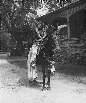 Pa'u riders - Adele Kauilani Robinson Lemke as a Pa'u Rider in her long skirt, 1913