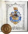 Adelsdiplom - Comel von Socebran 1879 - Wappen.jpg