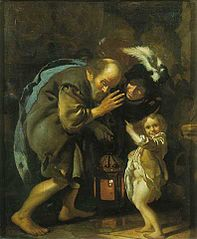 Diogenes searches for an honest person with his lantarn