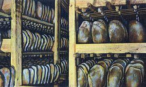 Smithfield ham - Image: Ageing genuine Smithfield, Virginia, hams (crop)