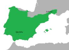 Aire linguistique maximale de l'arabe andalou (Milieu VIIIe siècle) .png