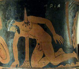 """""""Il suicidio di Aiace"""" su cratere etrusco a figure rosse da Vulci, 400-350 a.C., Londra, British Museum"""