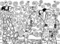 Albero della vita di Gustav Klimt - in bianco e nero da colorare.png