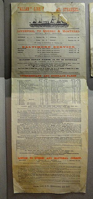 Allan Line Royal Mail Steamers - A poster showing fares and schedule for Allan Line ships across the Atlantic towards the end of the 19th century