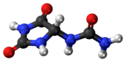 Ball-and-stick model of the allantoin molecule