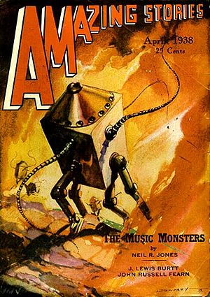 "Neil R. Jones - ""The Music-Monsters"" was the last ""Professor Jameson"" story to be published in Amazing Stories, taking the cover of the April 1938 issue"