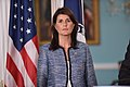 Ambassador Haley Listens on as Secretary Pompeo Delivers Remarks to the Press on the UN Human Rights Council (29036190038).jpg