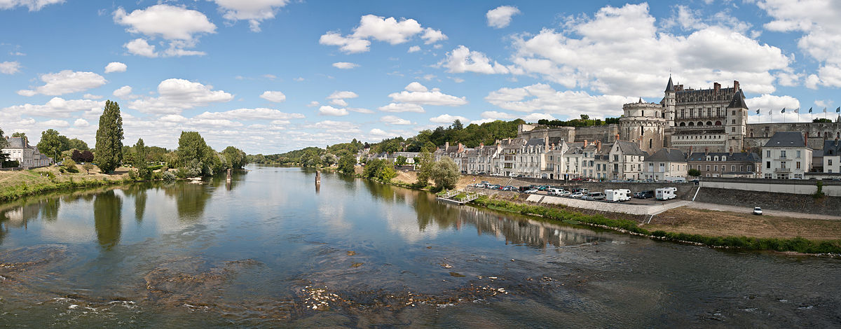 On the banks of the Loire River Amboise Loire Panorama - July 2011.jpg