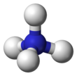 Ball-and-stick model of the ammonium cation