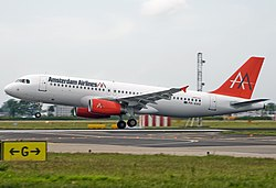 Amsterdam Airliner Airbus A320 PH-AAX landing at Schiphol airport.jpg