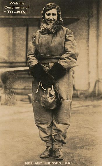 English: Postcard of Amy Johnson, female pilot