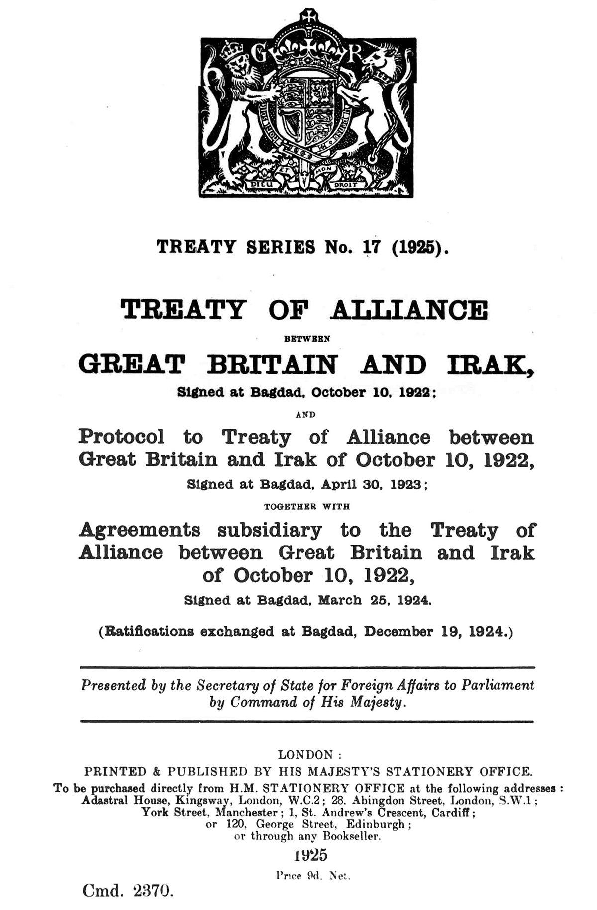 Anglo-Iraqi Treaty of 1922 - Wikipedia