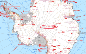 A map of Antarctica showing the location of the Amundsen–Scott South Pole Station (circled)