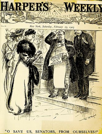 Anti-suffragism - A political cartoon in Harper's lampoons the anti-suffrage movement (1907).