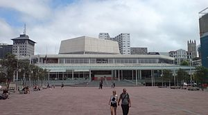 Aotea Centre - The changed centre entry area post-2010, with the wider stair and open cafe area.