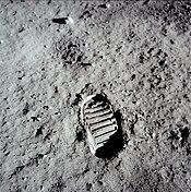 Buzz's lunar footprint, taken by himself, whilst on EVA July 20, 1969.