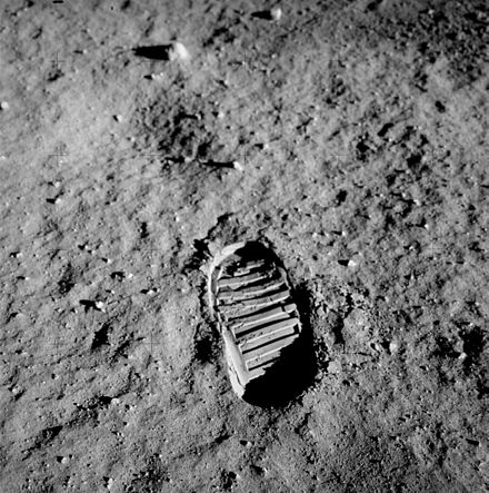 Bootprint of Lunar Module Pilot Buzz Aldrin on the surface of the Moon. Aldrin photographed this bootprint on July 20, 1969, as part of investigations into the soil mechanics of the lunar surface. Apollo 11 bootprint.jpg