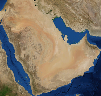 Arabian Desert - A satellite image of the Arabian Desert by NASA World Wind.