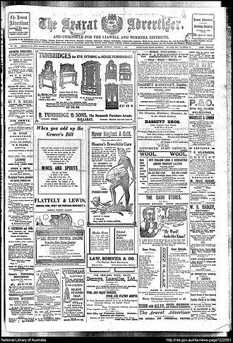 Ararat Advertiser - Front page, Ararat Advertiser, 3 January 1914
