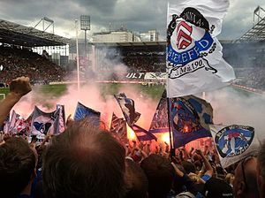 Arminia Bielefeld - Arminia supporters backing their team during an away game at Millerntor-Stadion