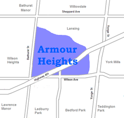 Location of Armour Heights