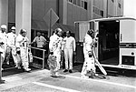 Armstrong (leading), Collins, and Aldrin make their way to the transfer van, probably for a Countdown Demonstration Test.jpg