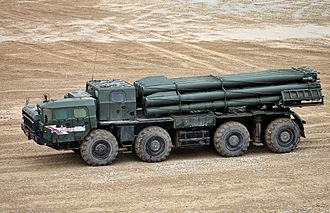 BM-30 Smerch - 9A52-2 launch vehicle of 9K58 / BM-30 Smerch MLRS
