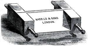 Cross-hatched illustration of a finishing press.