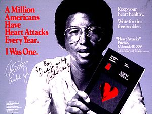 Arthur Ashe - Ashe promoting heart health after his heart attack.