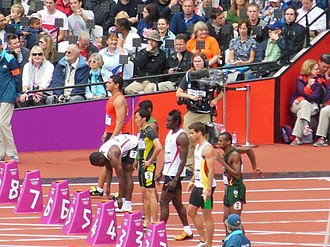 Joseph Andy Lui - Before the start of heat 1 of the 100 m at the 2012 Summer Olympics