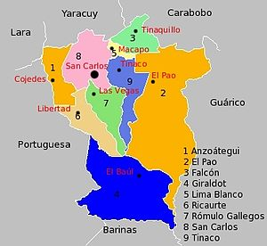 Cojedes (state) - Map of Cojedes