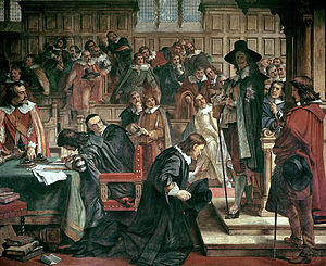 Long Parliament - Lenthall kneels to Charles during the attempted arrest of the Five Members (painting by Charles West Cope in the Houses of Parliament)