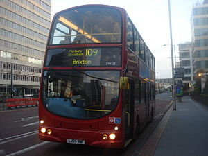 London Buses route 109 - Arriva London Wright Eclipse bodied DAF DB250 in September 2013