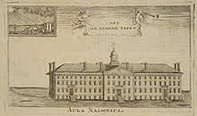 An engraving of Nassau Hall from 1760