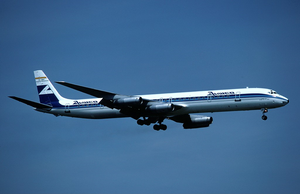 Aviaco - An Aviaco Douglas DC-8-63 on short final to Zurich Airport in 1981.