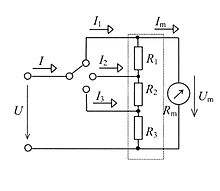 ammeter ayrton shunt switching principle